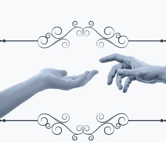 Muestra dos manos acercándose la una a la otra